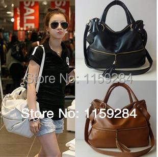 2015 large capacity bags fashion tassel rivet women's handbag shoulder bag oversized bags women leather bag(China (Mainland))