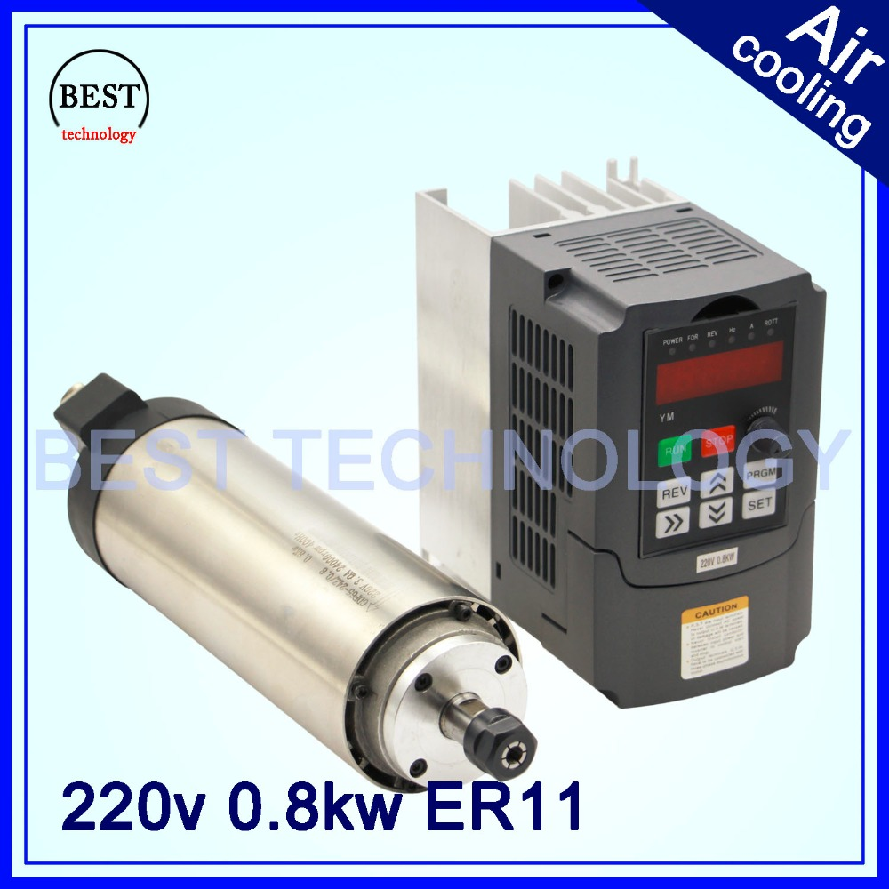 220V 800W ER11 Air cooled spindle motor 4 bearings 0.8kw air cooling precision 0.01 & 800w VFD inverter variable frequency drive(China (Mainland))