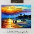 New Design Hand Painted Colorful Lake Surface Oil Painting on Canvas Risen Sun the Two Boats