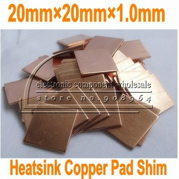 100pcs/lot 20MM*20MM*1.0mm 1.0mm Laptop GPU CPU Heatsink cooling fin  Shim for DV2000 for V3000 for DV9000 for M1210