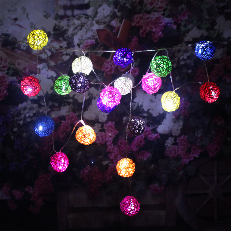 5M 20 LED 5CM Multi Color Rattan Balls Wicker String Lights Home Decor Fairy Lights Wedding ...