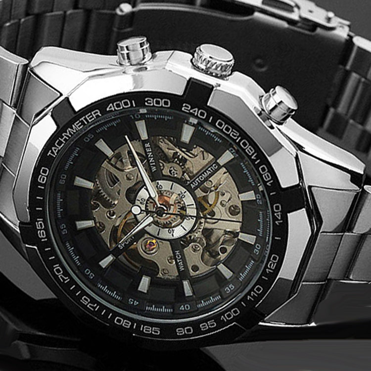 2015 Orologio Uomo WINNER Classic Design Cross Stainless Steel Watch Automatic Mechanical Skeleton Gear Watches Luminous Watches(China (Mainland))