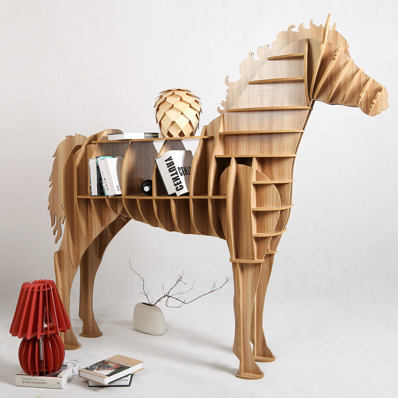 1 Set 62 69 Inch Home Decor Wooden Horse Art Desk Creative Horse Statue Wood Crafts For Living