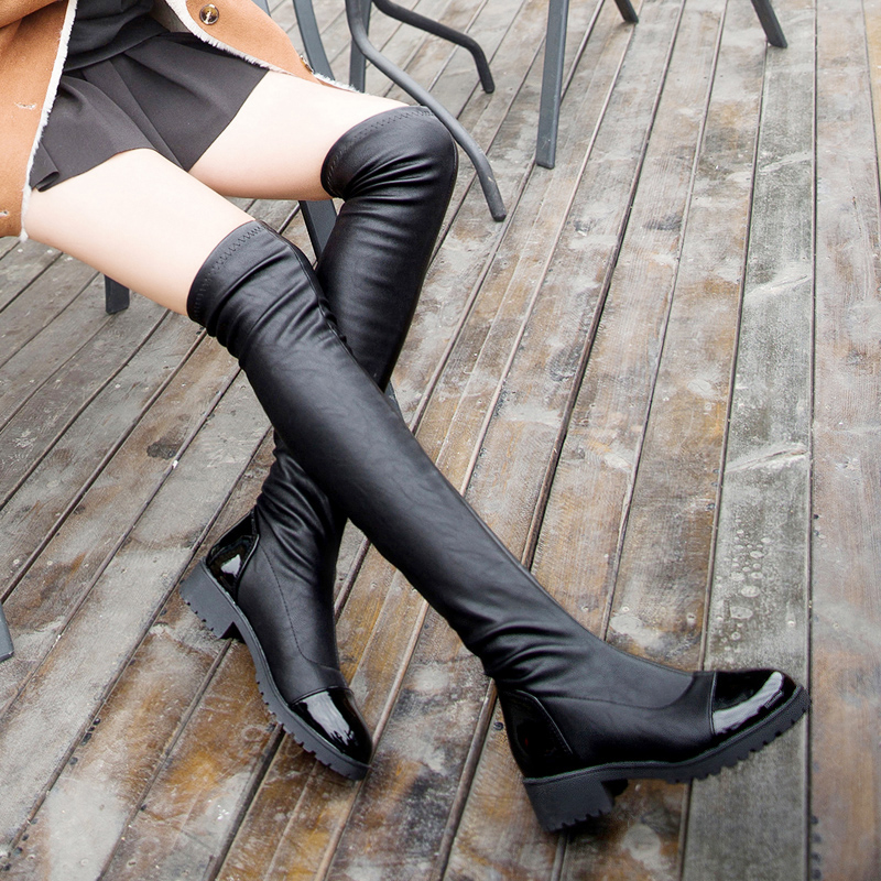 2015 winter woman sleeve boots thick heel knee tall round toe fashion leather platform - Nini store