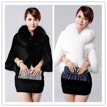 Женщины мех мыс пальто искусственный мех пальто жилет осень свитер короткая дизайн женщины большой размер S - xxxxl