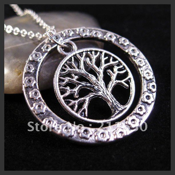 Round Dog Tag Charm 2 Row Necklace Tree Necklace Tree Of Life Flower  Oxidized Silver Pendant Necklace