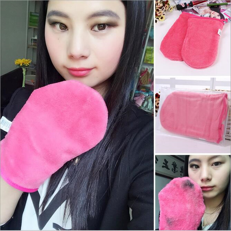 1 Pcs Makeup Remover Glove /Cosmetic Removal Microfiber Rose Red Mitt/The Makeup Eraser Upgraded Version of Makeup Remover Towel