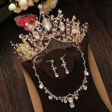 Bridal Jewelry Set Rhinestone Crystal Gold Tiara Silver Crown Earrings for Wedding Necklace Set Accessories Bride Luxury Jewelry(China)