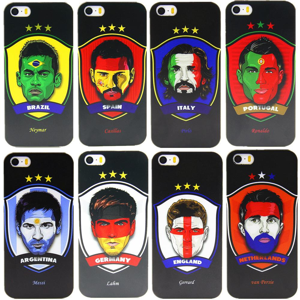 2015 clear cartoon football star phone cases for Apple iPhone 4 4s 5 5s case deluxe hard shell back cover black(China (Mainland))