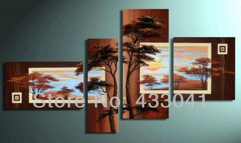 Modern Living Room Wall Decor Set : Hand painted piece sets modern abstract brown pine tree
