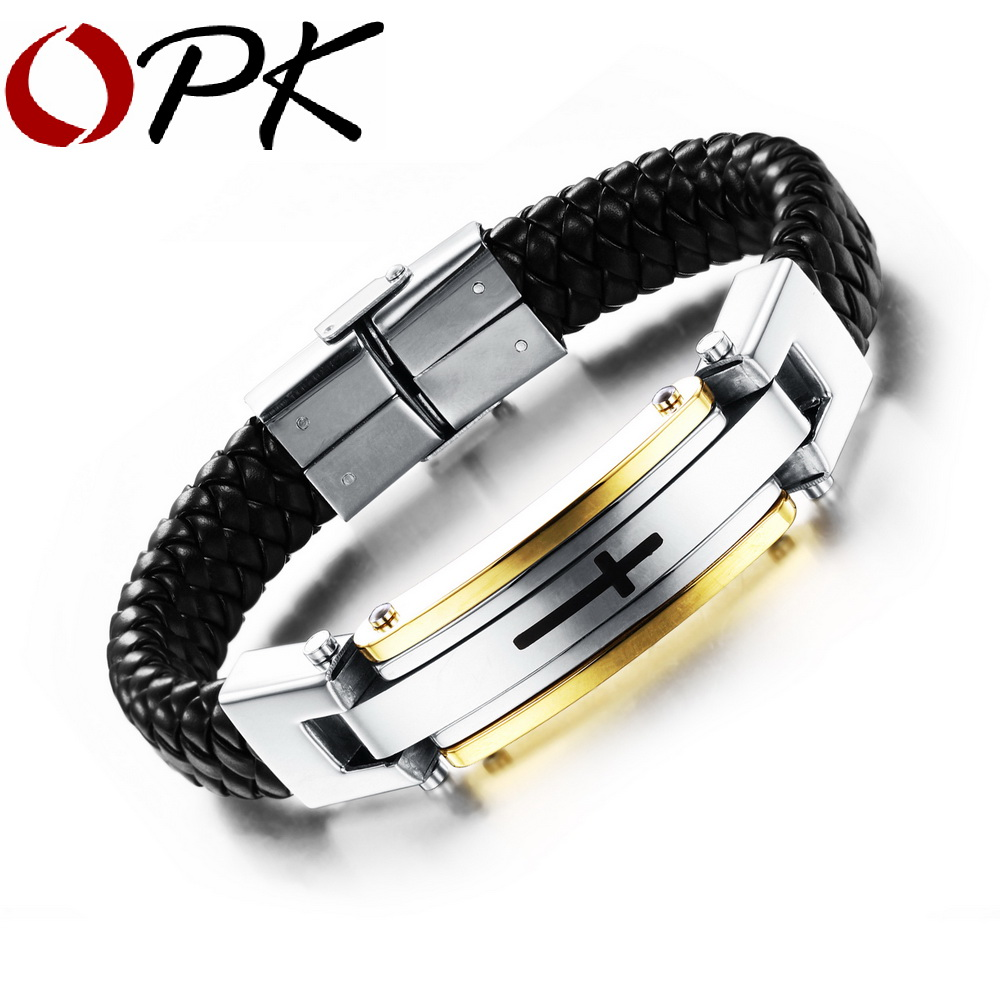 OPK Vintage Leather Wrap Bracelet Man Fashion Handmade Knitted Bangle Black/Gold Plated Full Steel Cross Men Jewelry PH916 - store