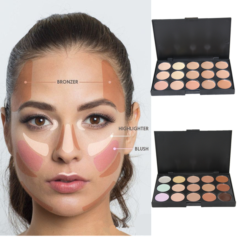 15Colors Cream Makeup Face Contour Kit Highlight Concealer Palette Bronzer with Blender Beauty Cosmetic Set for All available(China (Mainland))