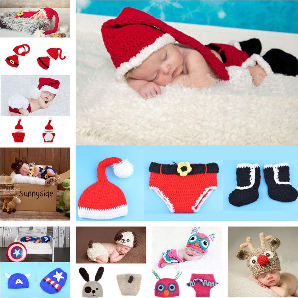 Retail Crochet Christmas Costume Hat&Diaper/Pants Set Newborn Baby Photo Props Toddler Santa Photography Props 1set MZS-14032(China (Mainland))