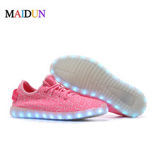 LED Light up yeezy Shoes for Adults Sneakers 2016 New style Luminous Flash Shoes with USB Rechargeable Men Shoes with LED Lights(China (Mainland))