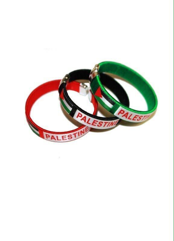 12pcs/lot hand band country name Sports national flag net wrist band palestine open bracelet(China (Mainland))