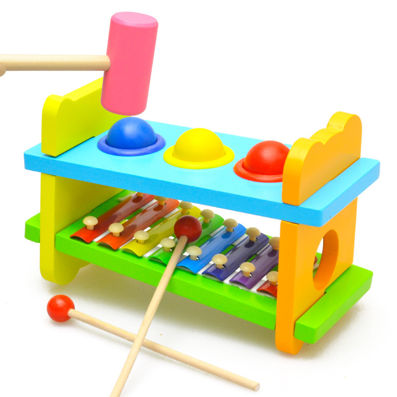 Wooden toy xylophone knock ball knock piano combination steel 8 scales children percussion toy ball combination educational toys(China (Mainland))