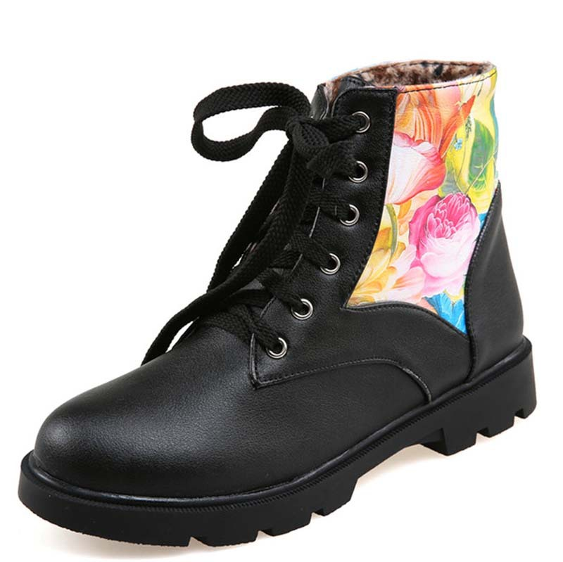 New Fashion Women Ankle Boots Mixed Colors Platform Boots Round Toe Lace Up Winter Boots For Women Motorcycle boots<br><br>Aliexpress