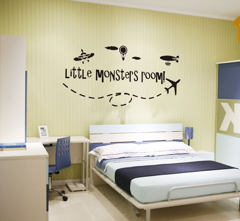 ebay hot Little monsters room boys airplane wall stickers removable art  vinyl decals for kids room boys free shipping q0018. Airplane Bedroom Decor Promotion Shop for Promotional Airplane