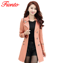 FIONTO Spring Autumn Trench Coat 2016 Hot Fashion Turn Down Collar Trench Coat Women Color Long Slim Double Breasted Coats A0210(China (Mainland))