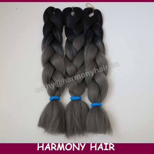 "Гаджет  FREE SHIPPING! (5pcs/lot Folded length 20"" Black& Dark Grey) Ombre Colored  Kanekalon Jumbo Braid Synthetic Hair None Волосы и аксессуары"