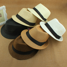 2015 Hot Sale Trendy Unisex Fedora Trilby Gangster Cap For Women Summer Beach Sun hats Straw Panama Hat Men Fashion Jazz Hats(China (Mainland))