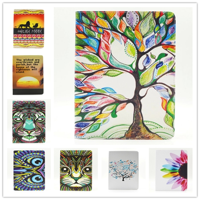 1 Pieces For ipad 2 3 4 Pu Leather Colorful Trees Painting Pattern Protective Skin Case For ipad Tablet Accessories(China (Mainland))