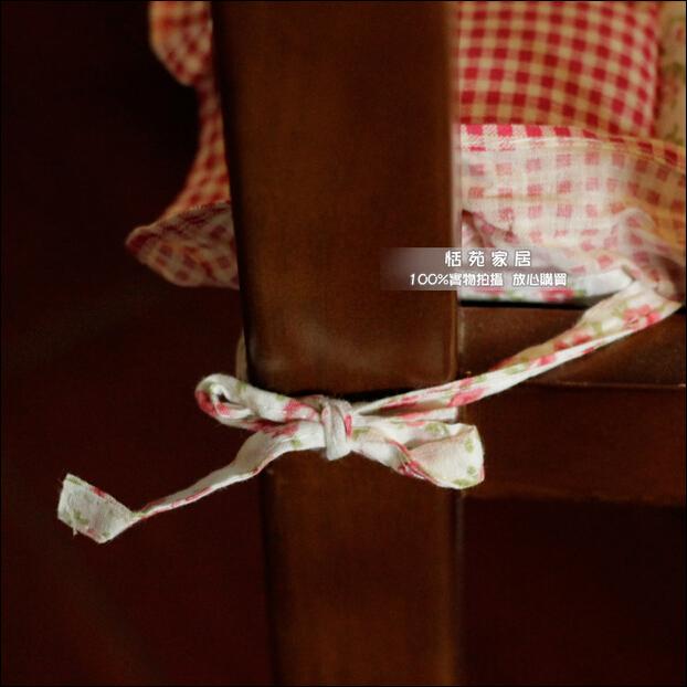Cute Rustic Rose Plaid Cushion Ruffle Lace Cushion Office Chair Mat Chair Pad Dining Chair Decorative