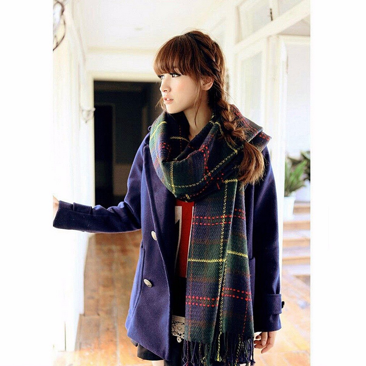 2016 Fashion Woman Winter Warm font b Tartan b font Check Neck Shawl Wrap Stole Plaid