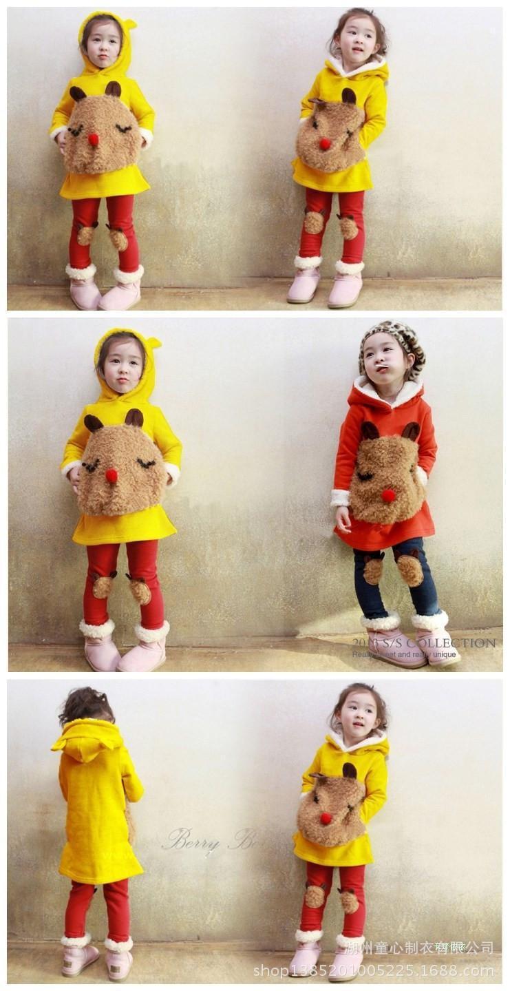 Скидки на Комплектов одежды детская одежда детская одежда для девочек зима 2016 новый детский мультфильм панда флис костюм размер 4670