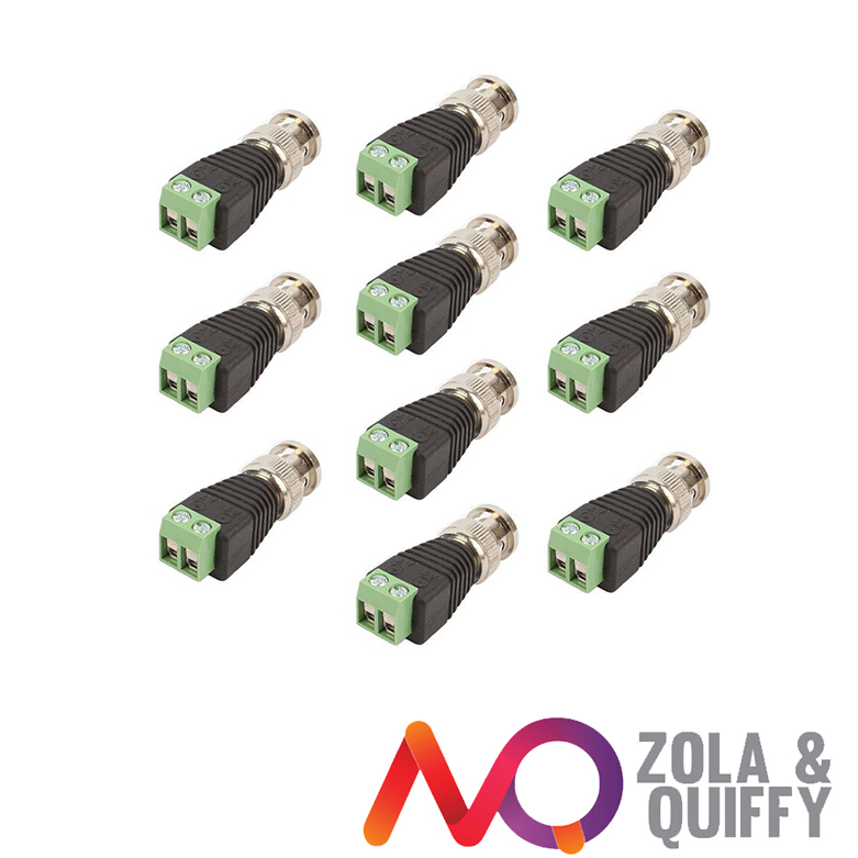 10x CAT5/CAT6 UTP To BNC Coaxial Coax Video Balun Connector Power Adapter CCTV(China (Mainland))