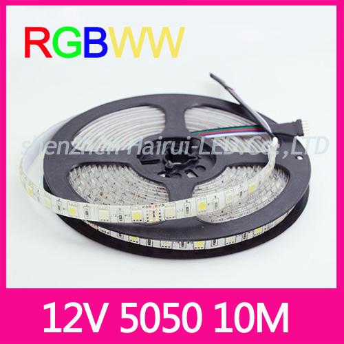 10M RGBWW 5050 LED strip Light Waterproof DC12V SMD 60Leds/M 300 LEDS Flexible Bar Light strips RGB + White light free shipping(China (Mainland))
