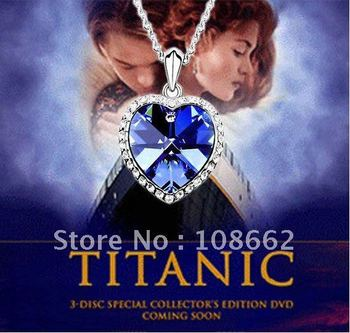 Free Shipping 1 PCS retail Titanic sea/ocean heart white gold plated Austrian crystal necklace party engagement wedding jewelry