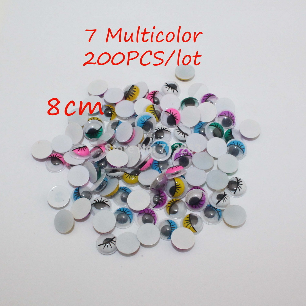8mm 200PCS 7 Multicolor With Eyelash Eye Activities Moving Eyeball Plastic Eyes Scrapbook  For Doll Toy Accessories(China (Mainland))