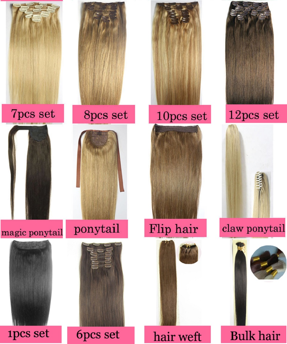 ZZHAIR 16″ 41cm 100% Brazilian Hair 5 Clips In Human Hair Extensions 1Pcs 80g One Piece Set Straight Natural hair Non-remy