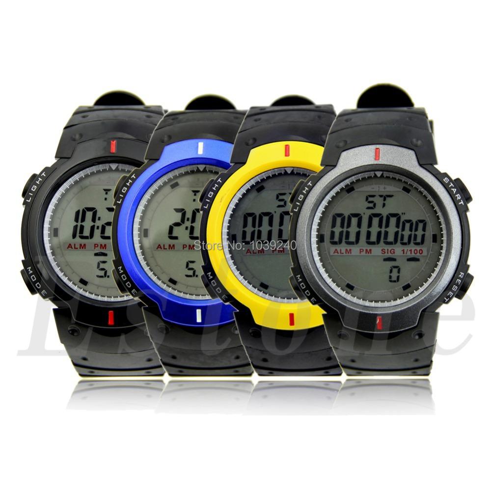 E74 Free Shipping Fashion Waterproof Men s LCD Digital Stopwatch Date Rubber Sport Wrist Watch