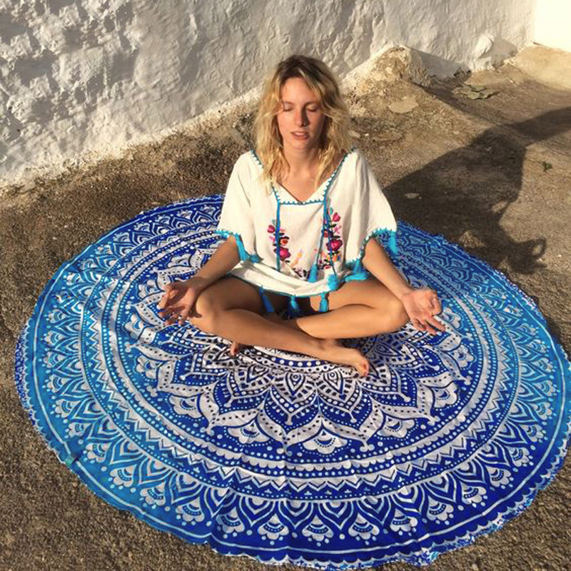 Summer Mandala Roundie Beach Boho Pareo Sarong Wrap Chiffon Shawl Flower Pattern Blanket Beach Towel Tapestry Swimsuit Cover