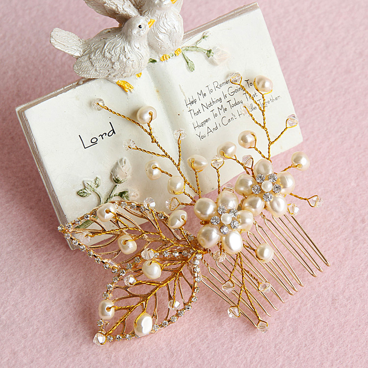 Fashion handmade beaded hair comb the wedding hair accessory swithin wedding accessories marriage pearl gold plated hair jewelry(China (Mainland))