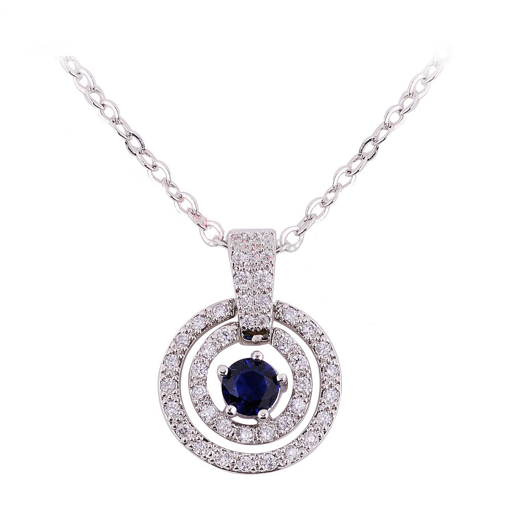 New Fashion Jewellery Pendant Necklace Blue Sapphire Necklace Lady's White Gold Plated Women Gift(China (Mainland))
