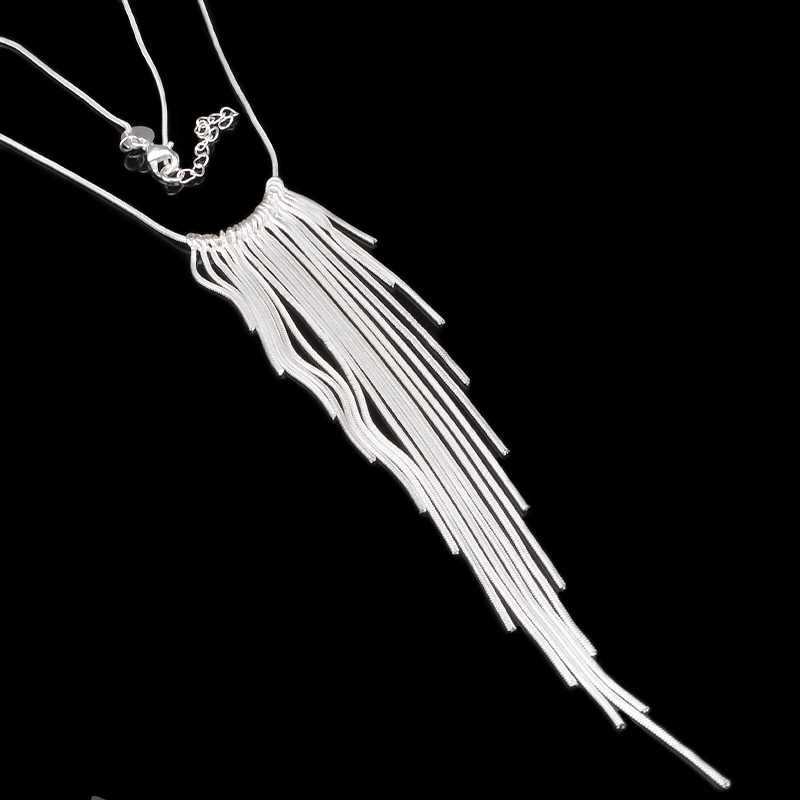 2016 Hot Sexy Style New Silver-Plated Jewlery Snake Chain Tasseled Necklaces Women's Statement Necklace Nice Valentines Gifts(China (Mainland))