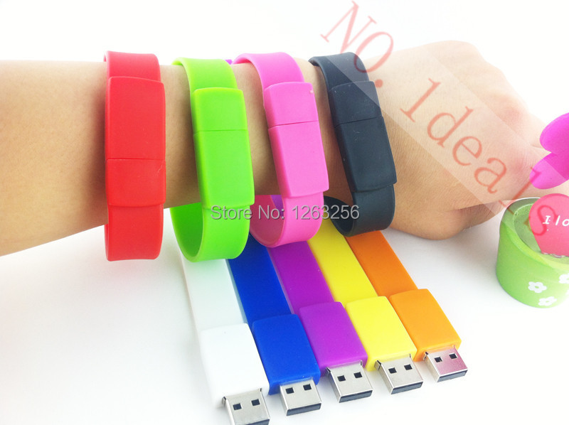 100% real capacity Silicone Bracelet Wrist Band 16GB 16GB 8GB 4GB USB 2.0 USB Flash Drive Pen Drive Stick U Disk Pendrives(China (Mainland))