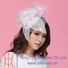 Free Shipping Hot Sale Fashion Elegant Women Fascinator Hats Hair Accessories Wedding Dress Hairdress White Flowers Hairbands
