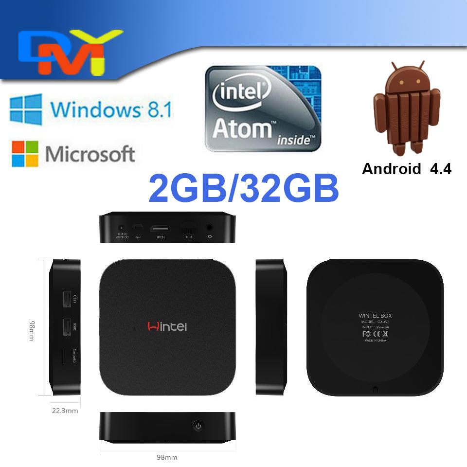 Hot Sale CX-W8 Windows 8.1 Android 4.4 Dual System Quad Core TV Box Smart Mini PC Atom Z3735F 2.4G/5G Dual Wifi 2GB RAM 32GB ROM(China (Mainland))