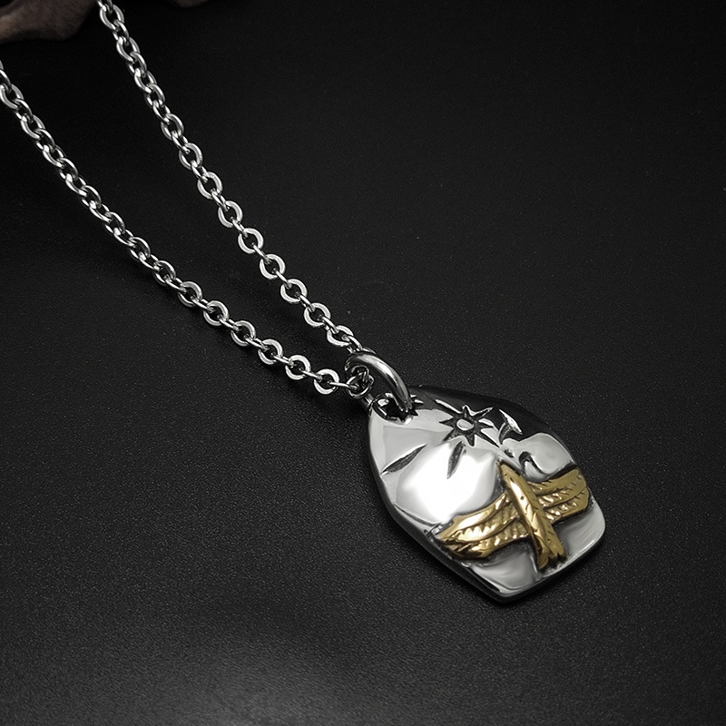 Retro Titanium steel necklace Eagle Pendant accessories punk style personality men and women fashion jewelry with free chain(China (Mainland))