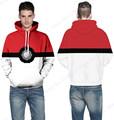 Autumn Sweatshirt Men Poke Ball Hooded Tracksuits Pokemon Go Skateboarding Hoodies White Active Loose Sport Suit