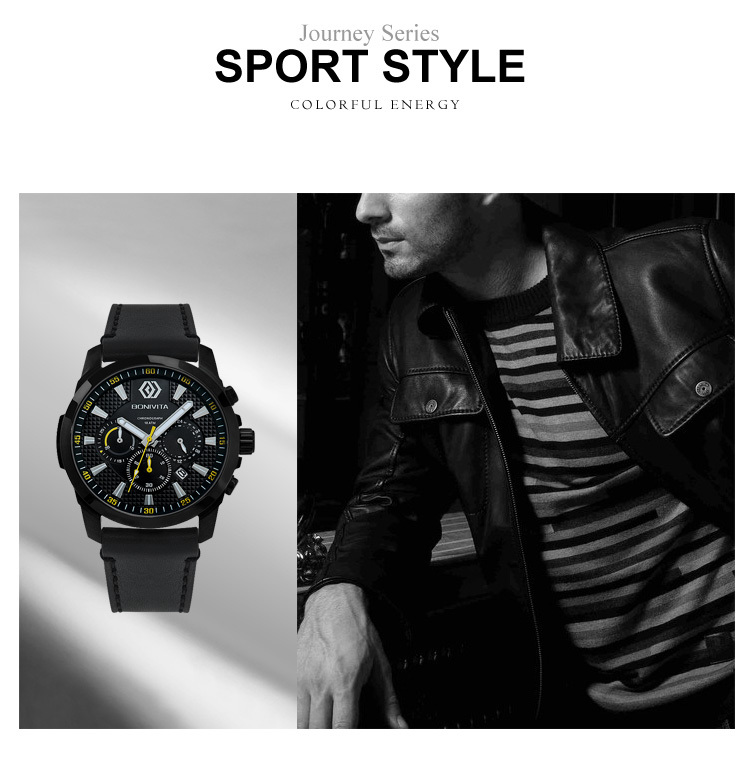 Bonivita men brand multifunction watch mens military chronograph sports watches waterproof casual large dial watch men