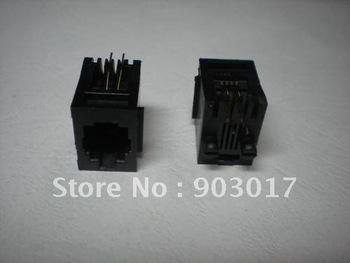 52 4P4C 180  Degree Black With flange Top entry Modular Network PCB Jack Connector 120 pcs por lot