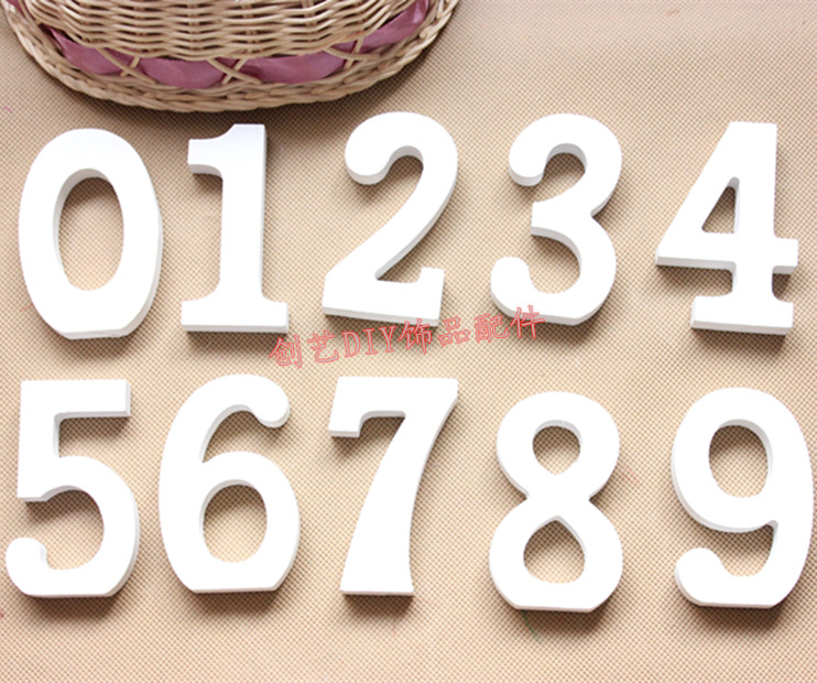 10 white digital wool brief modern letter decoration home decoration wedding props(China (Mainland))
