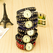 New Hot Sale Original High Quality Watch Genuine Leather Vintage rivet Watches Bracelet Wristwatches for Women SB042P