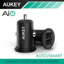 Aukey High Quality Car Charger Mini Usb Car-Charger 2 Port 4.8A Universal Smart Car Charging for Cell Mobile Phone Tablet PC