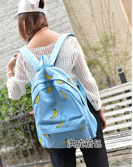 1pcs/lot free shipping preppy style Banana ice cream Pattern Printing Backpack Traveling Outdoor Backpack Unique Canvas Bag(China (Mainland))